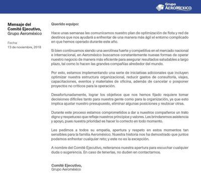 Comunicado Grupo Aeromexico